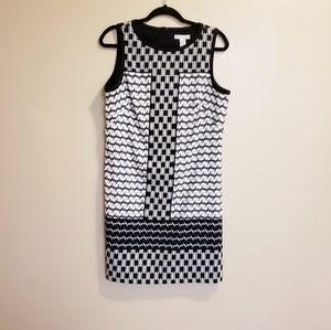 London Times White / Black Sleeveless midi Dress